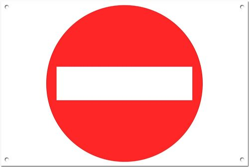 No Entry Brushed Aluminium Metal Sign